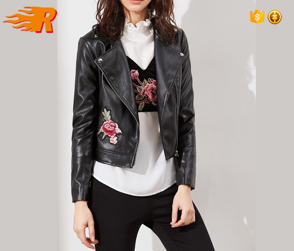 many choices of unbeatable price special discount of Custom Fancy Black Embroidered Rose Faux Biker Leather Jacket Women - Buy  Leather Jacket,Biker Leather Jacket,Leather Jacket Women Product on ...