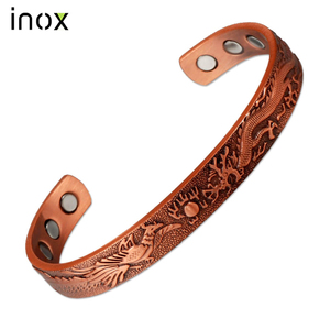 Inox Health Healing Bio Magnetic Pure Solid Red Copper Bangle Jewelry Arthritis Bracelet For Vitiligo