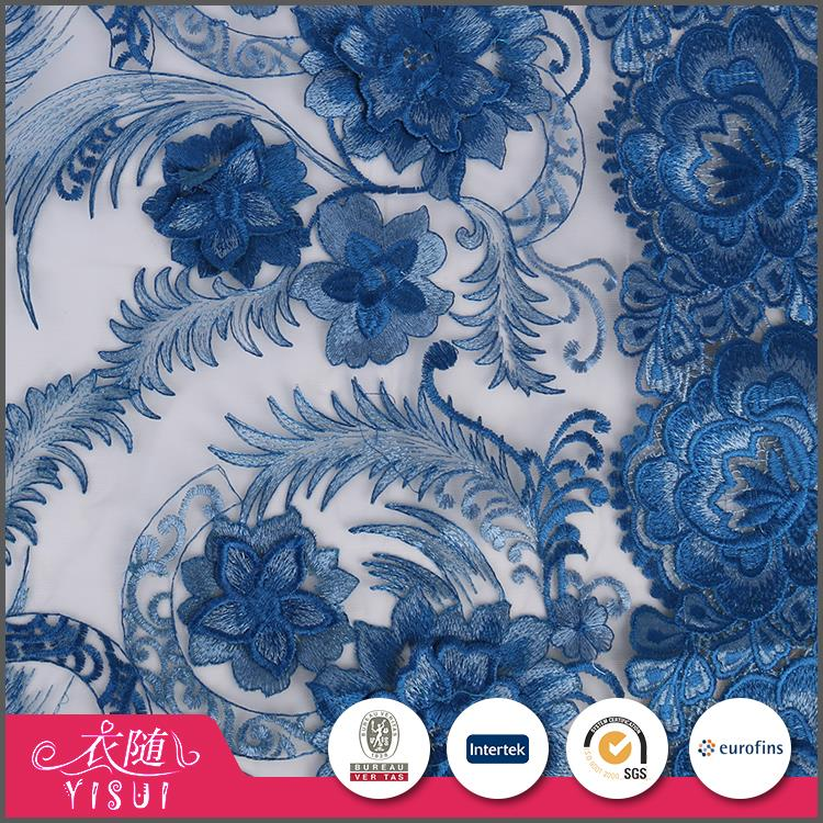 Fast delivery custom made luxury 3d flower floral tulle lace embroidered fabric
