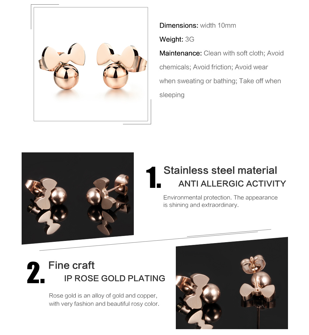 New Design Stainless Steel Cute Bowknot Ball Design Kid Earring