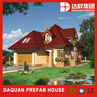 prefab house with dulex roof style for draining rain water