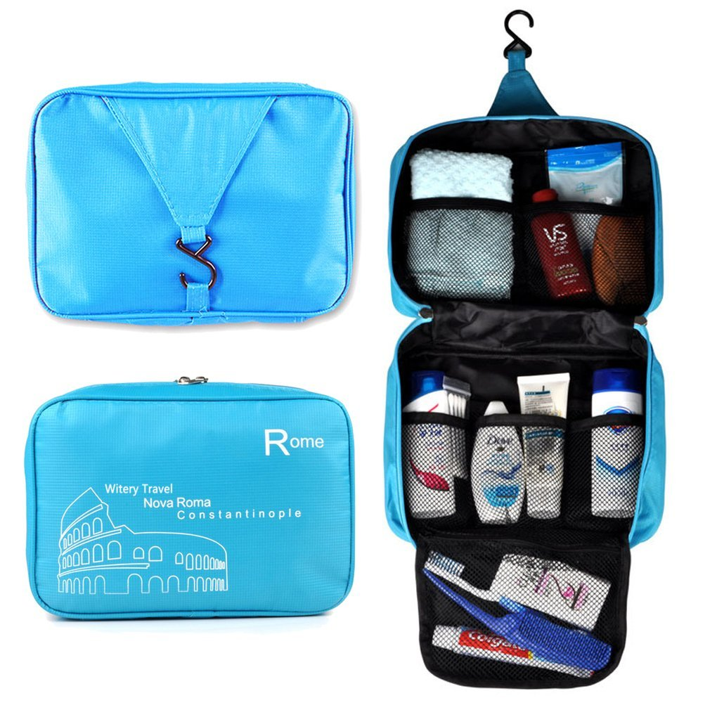 Witery® Spacious Hanging Toiletries Make Up Wash Bags Cosmetics Bags Portable Multifunctional Unisex Water Resistant Printing Travel Hook Up Bags in Bag Blue