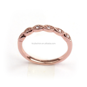 2016 tiny AAA zircon 18k rose gold chic micro paved knuckle midi ring