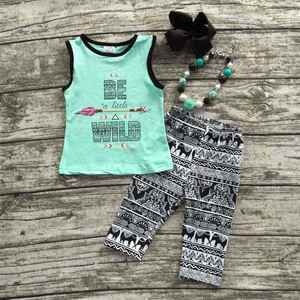 baby Girls Summer clothes baby girls boutique clothing girls be a little wild outifts capri sets with matching accessoreis