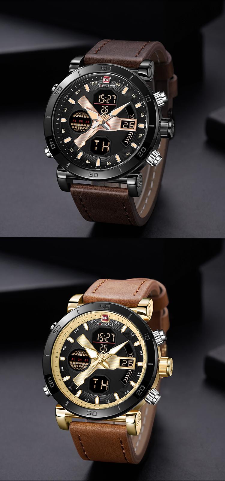 05832174e73 NAVIFORCE Homens Relógio Digital Esporte Mens Relógios Top Marca de Luxo  Pulseira de Couro militar Do