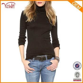 Girls High Neck Black Long Sleeve Plain T Shirts Manufacturers In ...