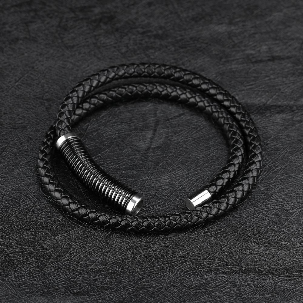 Fashion Men Braided Black Wrap Genuine Leather Multilayer Bracelet
