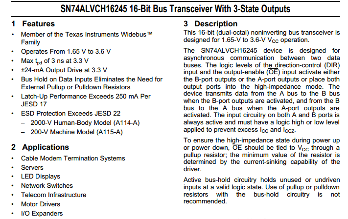IC BUS Transceiver SN74ALVCH16245DGGR 48-TSSOP (Original and New)