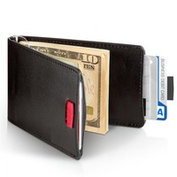 Bifold money clip with card sot slim leather money clip wallet for men