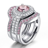 engagement ring 925 sterling silver pink zircon