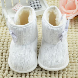 Woolen Yarn easy to take off or wear girl boots children Bowknot Soft Sole Winter Warm Shoes Boots botas para meninas #