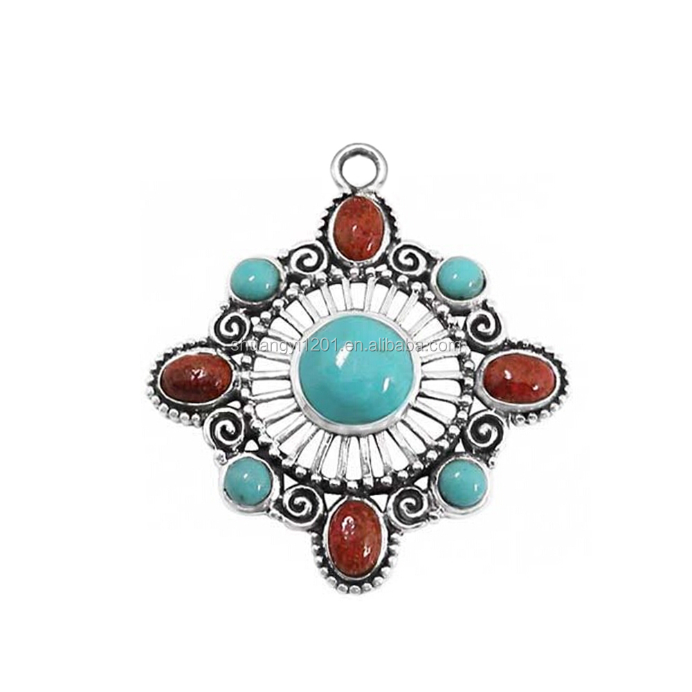 Antique Silver Plated Alloy Hollow Square Shape Genuine Gemstone Turquoise Pendants For Necklaces