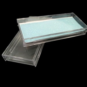 high quality hard plastic custom eyelash box clear box for eyelashes custom eyelash packaging with glitter paper