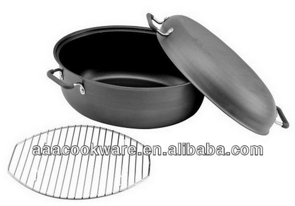 Hard-anodized Aluminium Covered Oval Roaster with Rack