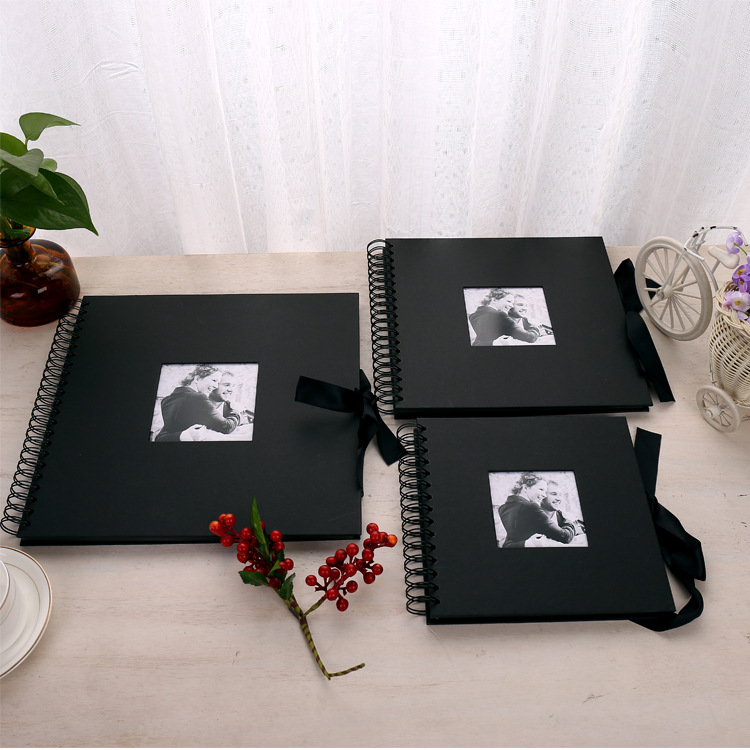 12x12IN Photo Albums 40 Sheets Handmade Scrapbook Black Photo Album DIY Photo Album