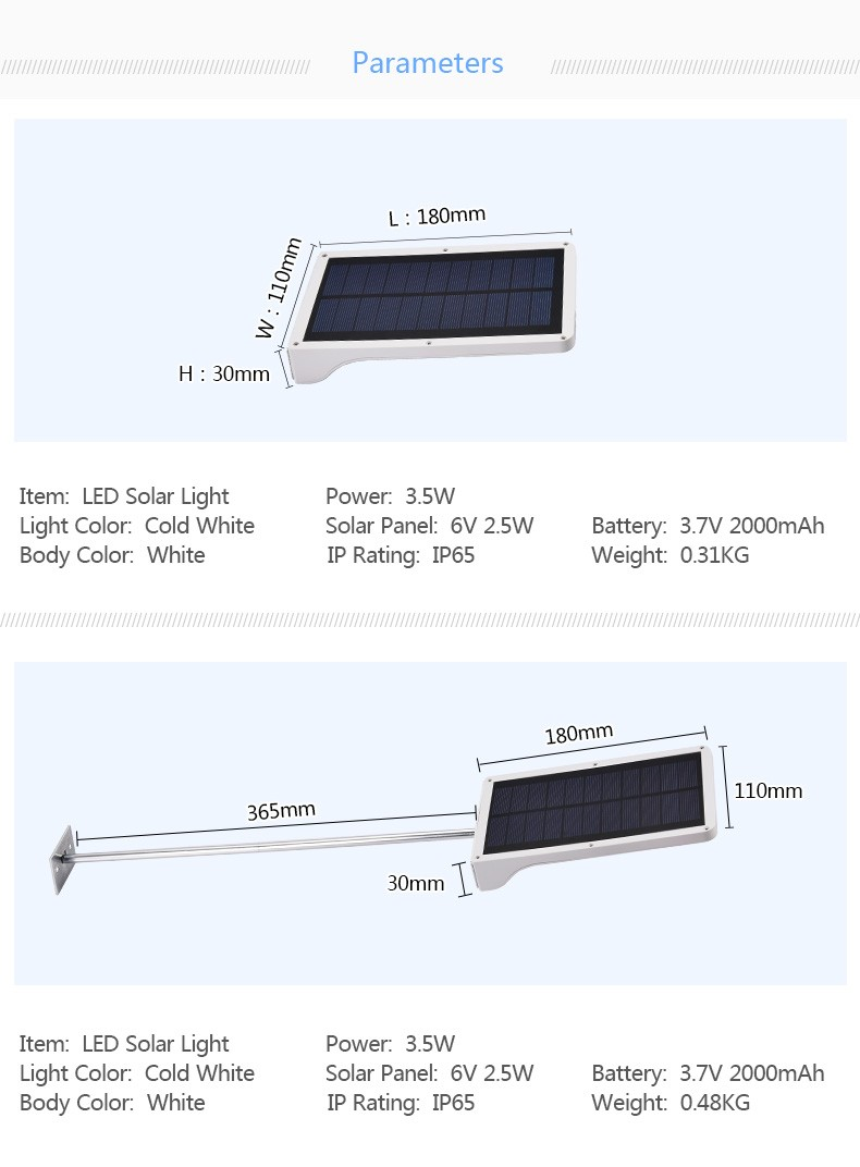 High performance ip65 waterproof Mini sensor LED Solar Street Light