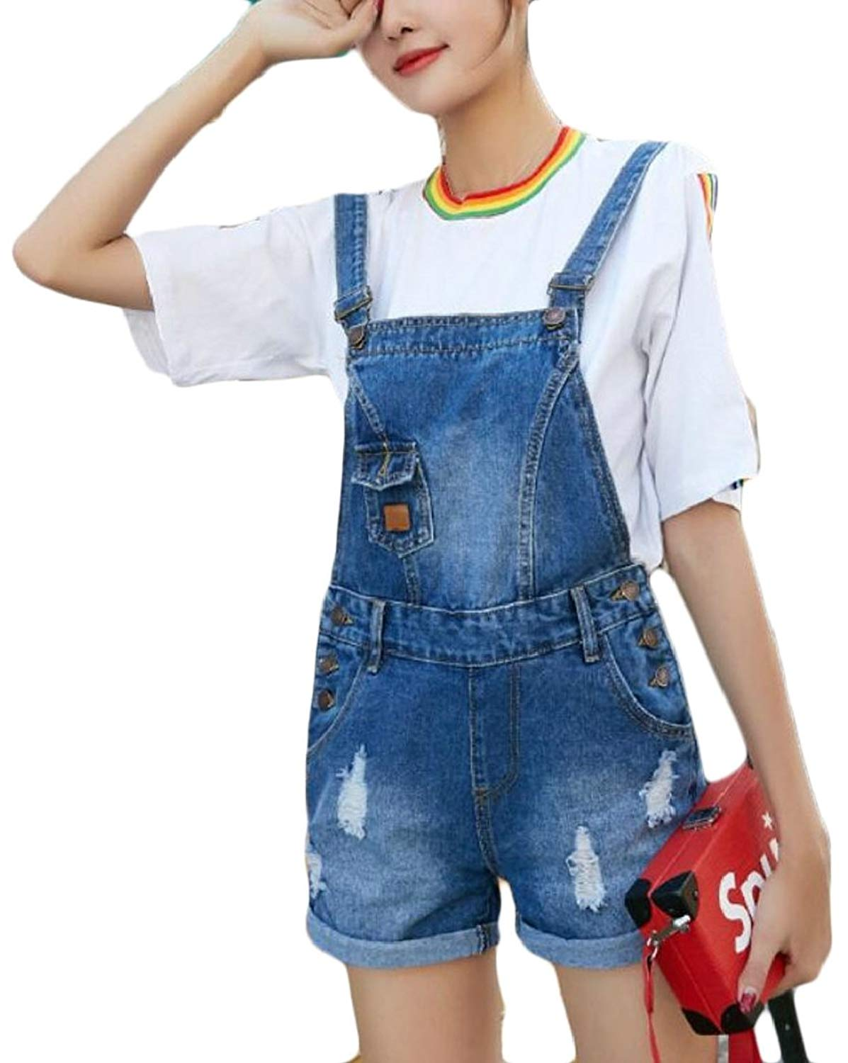e35a7df82df5 Get Quotations · XQS Women Ripped Denim Overall Shorts Romper