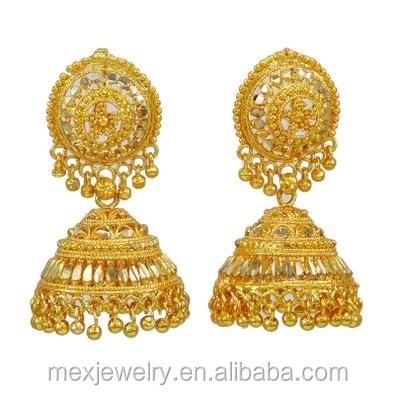 Ethnic Bollywood Fashion Indian Gold Tone Faux Pearl Bali Jhumki Polki Earring Traditional Jewellery OzKCnSf