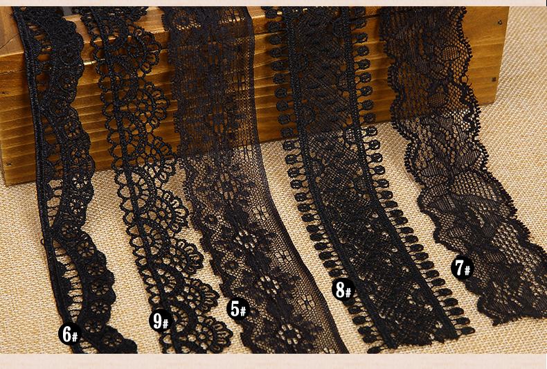 Shippment libre negro barato flor patrón bordado solubilidad en agua ...