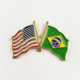 Custom Cheap USA and Brazil Flag Crossed Lapel Pins for Sale