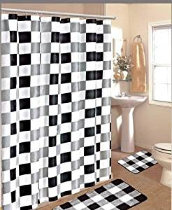 Get Quotations 15pc Black White Checkers Bathroom Bath Mats Set Rug Carpet Shower Curtain Hook