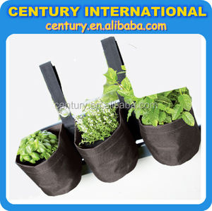 Hanging garden wall planter bags,vertical grow bags, in jute and polyester for planting