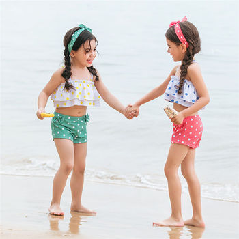 New Cute Children'S Girl Two-Piece Dot Bikini With Hair Band Beach Suit