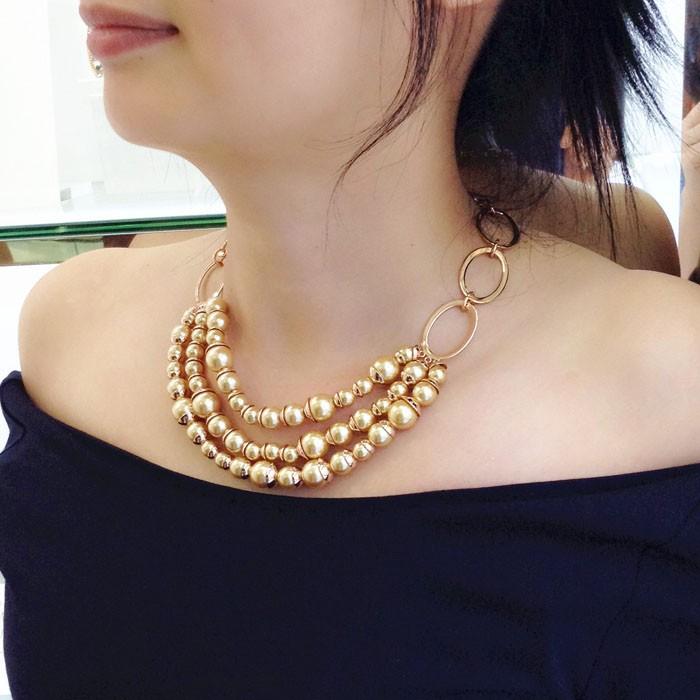 920d629e7144 2017 joyería de lujo de moda tres Strand collar de cadena collar de  Gargantilla collar de