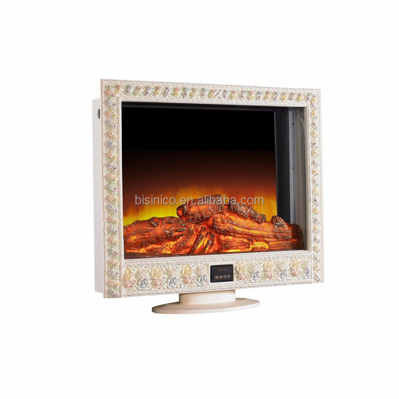 French Rococo Style TV Stand Decorative Electric Fireplace Heater, Painting Floral Living Room Fake Flame Fireplace Heater
