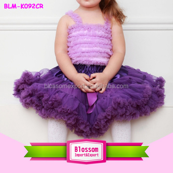 Wholesale ruffles skirt colorful pettiskirts tutu for kids lavender fluffy chiffon skirts teenager short skirts with ribbon