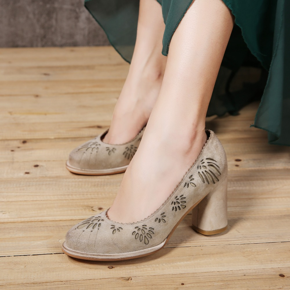 Heels 2017 Shoes Women High Heels Shoes Pumps Dress Natural Shoes Chunky Women Suede wqTIfq