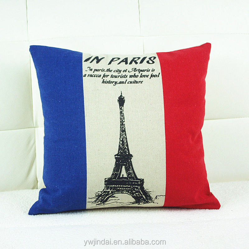 High Quality Table Mats Blue And White In The Middle Eiffel Tower In France Office Pillow Office Chair 1 Side Printing