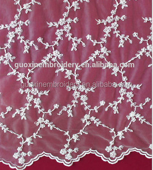 High quality embroidered lace fabric/ cord embroidery fabric for bridal