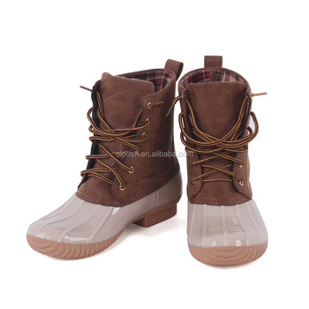 Womens Lace Up Two Tone Combat Style Calf Rain Monogrammed Duck Boots