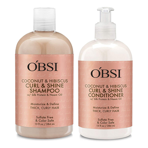 Coconut & Hibiscus Curl & Shine, Shampoo and Conditioner Set, Silk Protein and Neem Oil