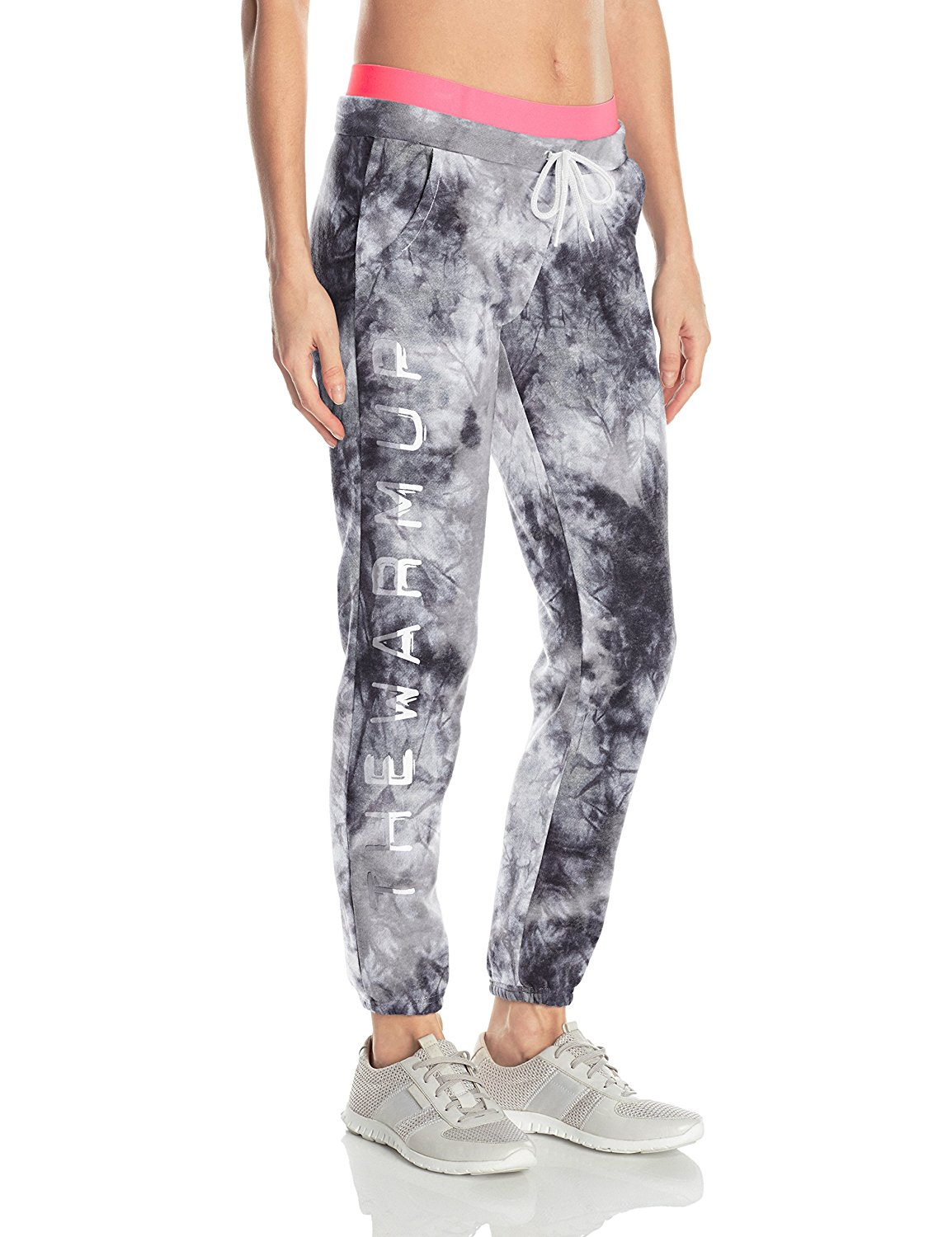 The Warm Up by Jessica Simpson Women's Tie Dye Fleece Jogger With Branded Graphic