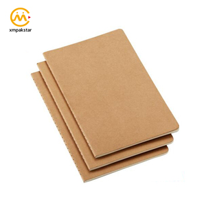 2019 A5 custom promotional cheap small brown kraft paper paperback softcover school notebook exercise book for children