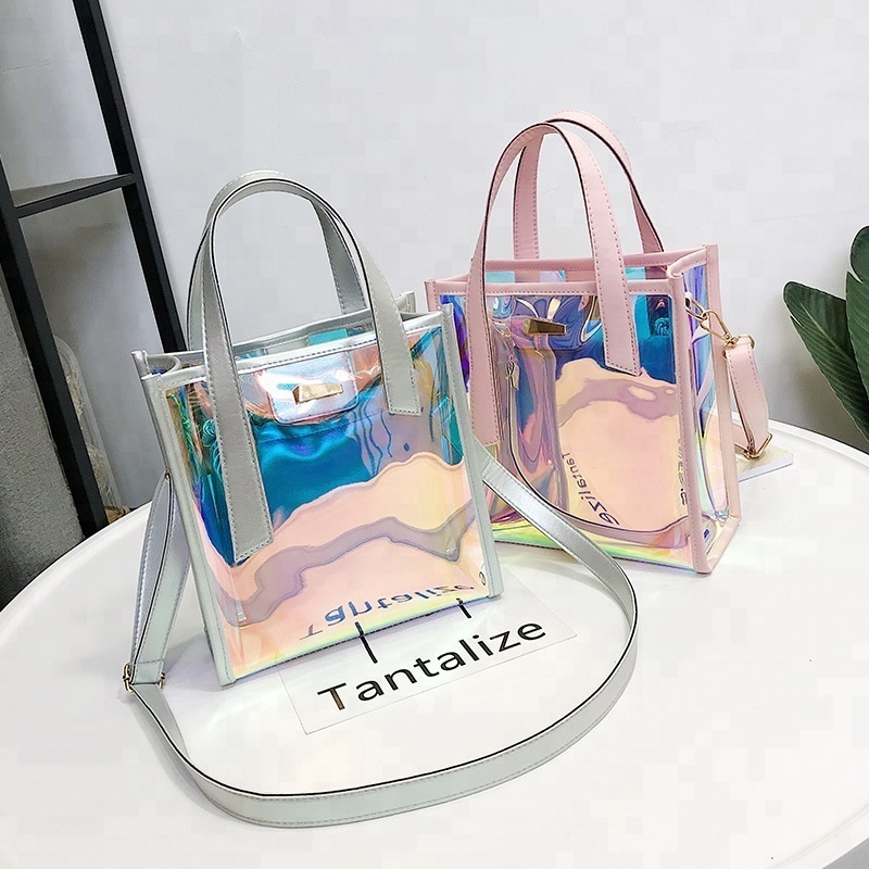 Clear PVC Women Bucket Bag Drawstring Shoulder Bag Tassel Brand Hologram Laser Handbag Jelly Transparent <strong>Totes</strong>