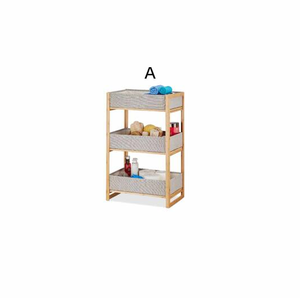Bamboo shelf stand corner bathroom with 3-tier storage