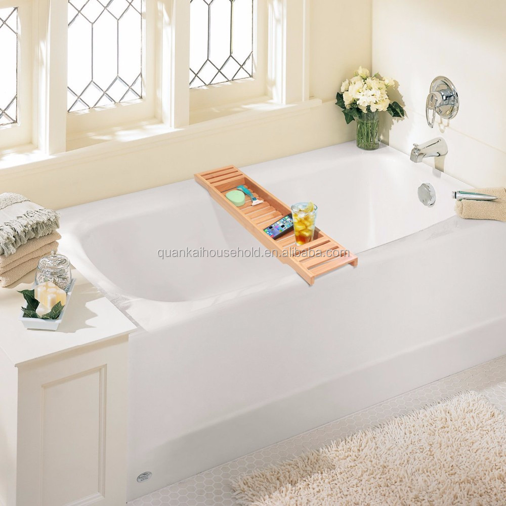 Bamboo Bathtub Caddy Bamboo Shower Bath Tub Tray Organizer. - Buy ...