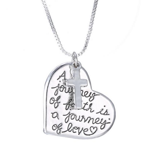 "Hot Sale Silver Plated Alloy A journey of faith"" Heart Cross Religion Pendant Charm Necklaces Love Heart Cross Pendant Necklaces"