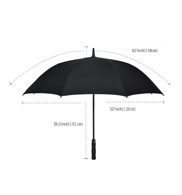 62 inch automatic carbon fiber open windproof black eva handle standard size golf umbrella with logo printing
