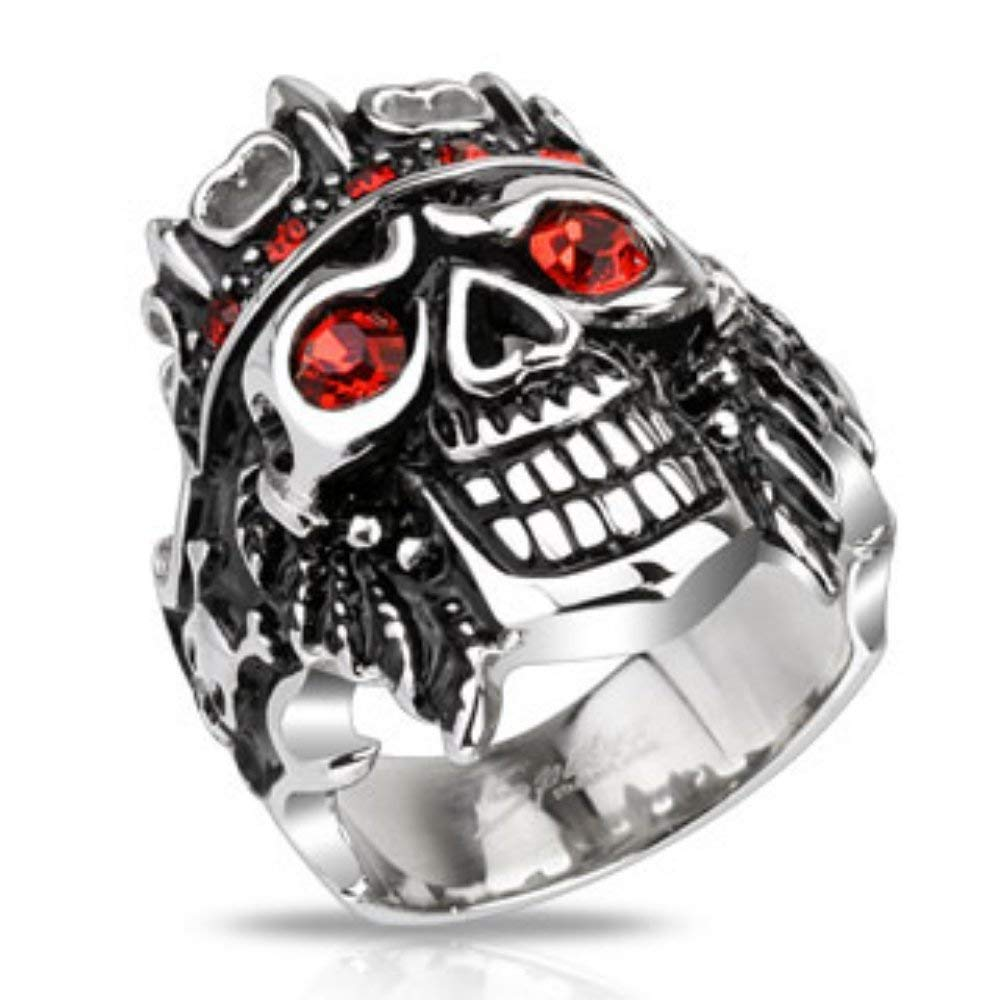 Spikes Pirate Skull King with Red CZs Wide Cast Ring Stainless Steel