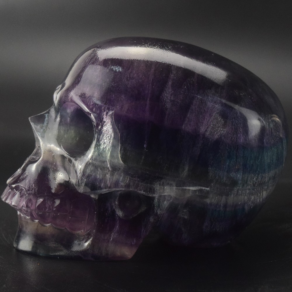 Realistic skull, natural carved 3 inch Fluorite crystal skull for Healing, Reiki