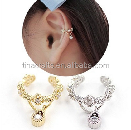 Without Ear Hole Earring With Zircon Hanging Stud Earrings Latest Design Diamond Product On