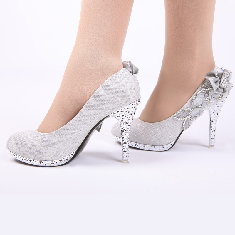 2015 Bride wedding shoes noble rhinestone shoes chromophous bride silver wedding shoes
