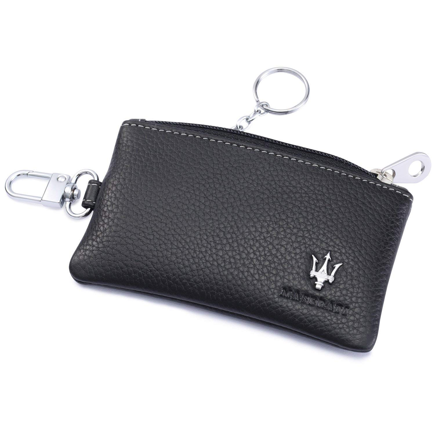 Maserati Car Key Holder Remote Cover Fob with 1 Metal Keychain - Genuine Leather