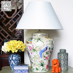 Good quality porcelain European style table lamp home decoration ceramic bedside table lamp with bird pattern