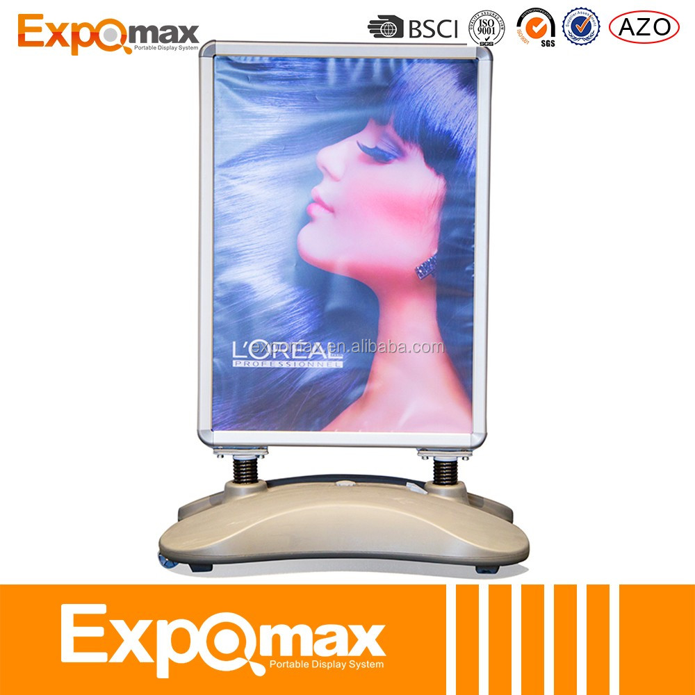 Hot sales outdoor poster board stands/ Stainless steel banner stand/ Sample signboard/ Sandwich board signs P-52