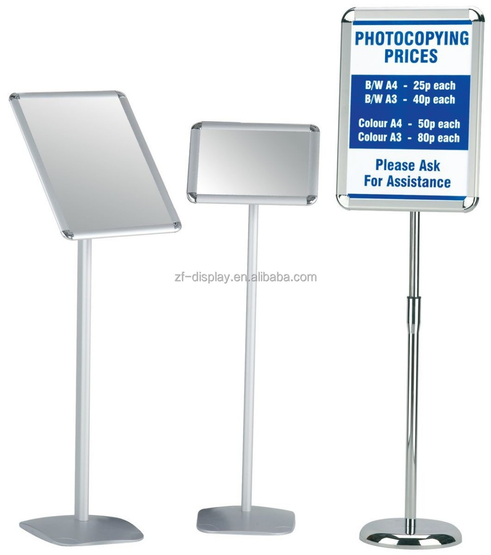 A3, A4 polished display sign stand/menu sign post/adjustable poster stand